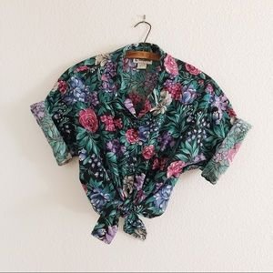 Vintage oversized button up floral blouse crop L